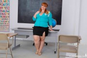 Free porn pics of BBW Redhead Strips Naked in Thong Sandals 1 of 48 pics