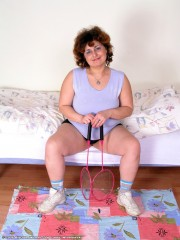 Free porn pics of Chunk Gran in a sporty mood invites you to play hide the sausage 1 of 106 pics